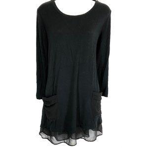 LOGO LORI GOLDSTEIN Black Sheer Trim Top Shirt ~ L